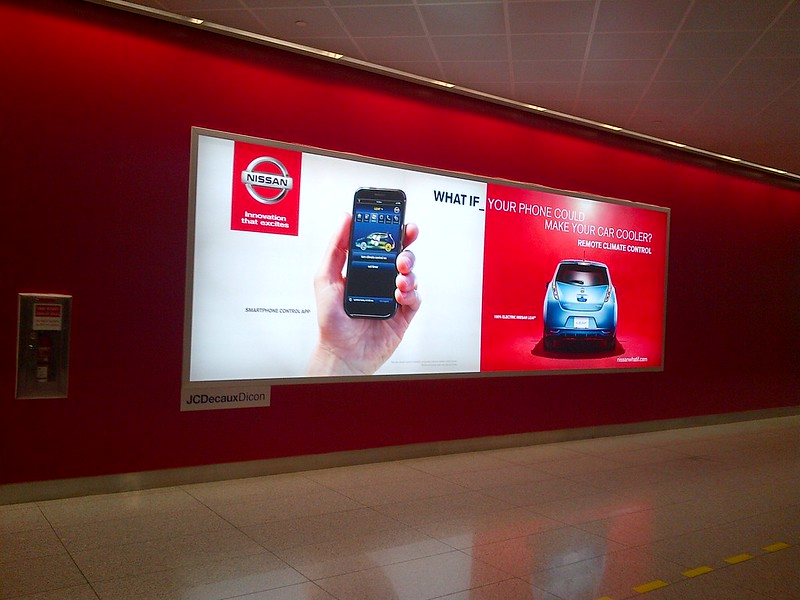 Nissan Leaf ad inside Dubai International Airport