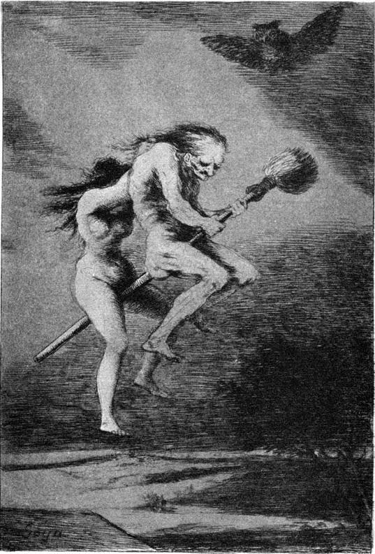 6. El vuelo de la bruja. De la colección Los Caprichos. Francisco de Goya, 1799