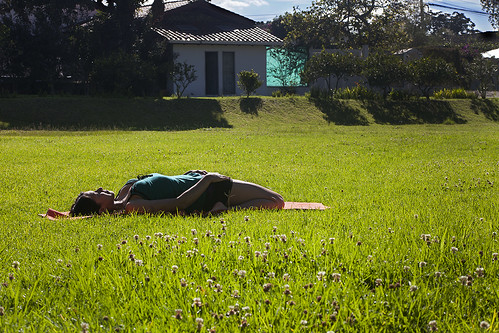 Supta Virasana in the Sun