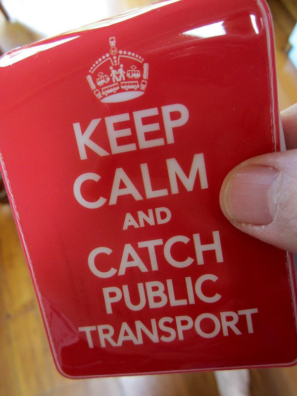 """Keep Calm And Use Public Transport"" Myki card holder from Travellers Aid"