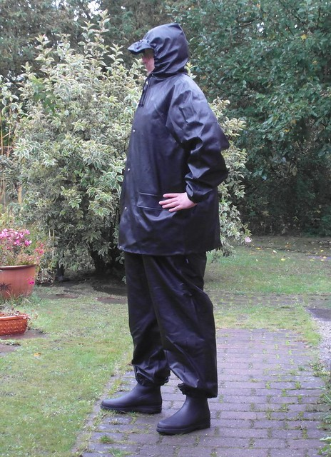 Black Rainsuit in the garden