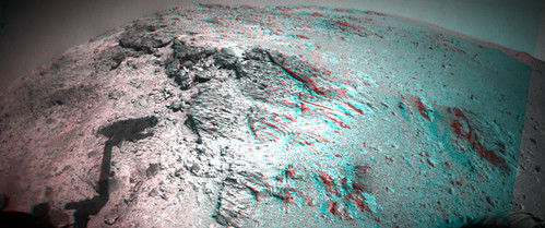 Opportunity sol 3492 Front Hazcam anaglyph