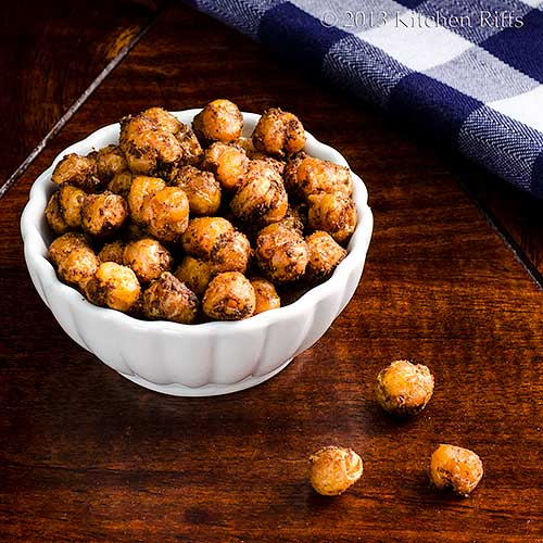 Spicy Roast Chickpeas in small ramekin, with napkin in background