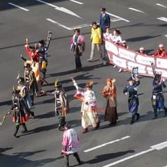 優勝パレードの伊達武将隊