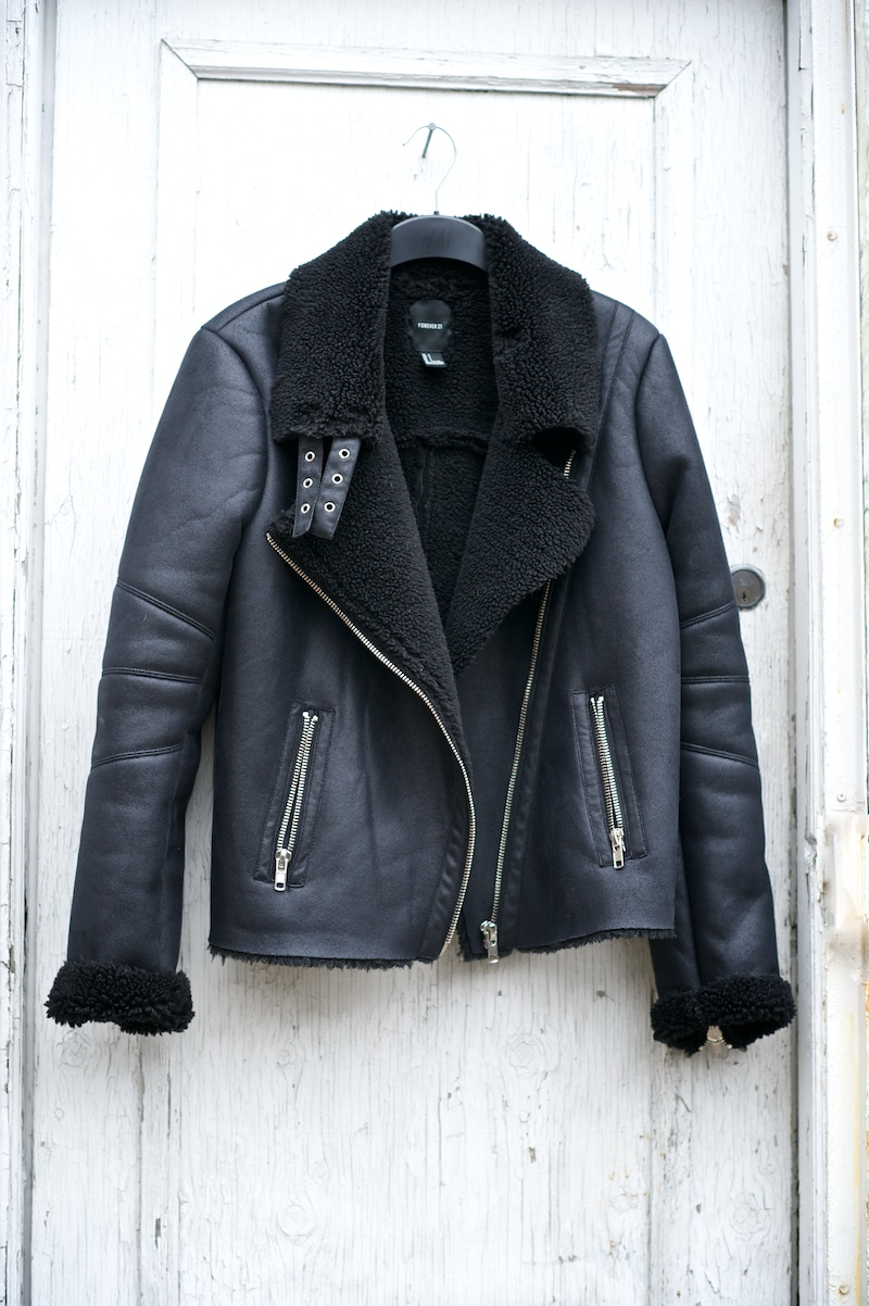 shearling motor jacket