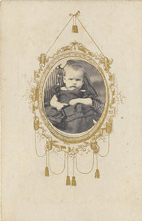 CDV with Gold Frame of Baby with Hidden Mother