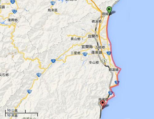 宜蘭竹安到南澳海岸位置示意圖,圖片來源:google地圖