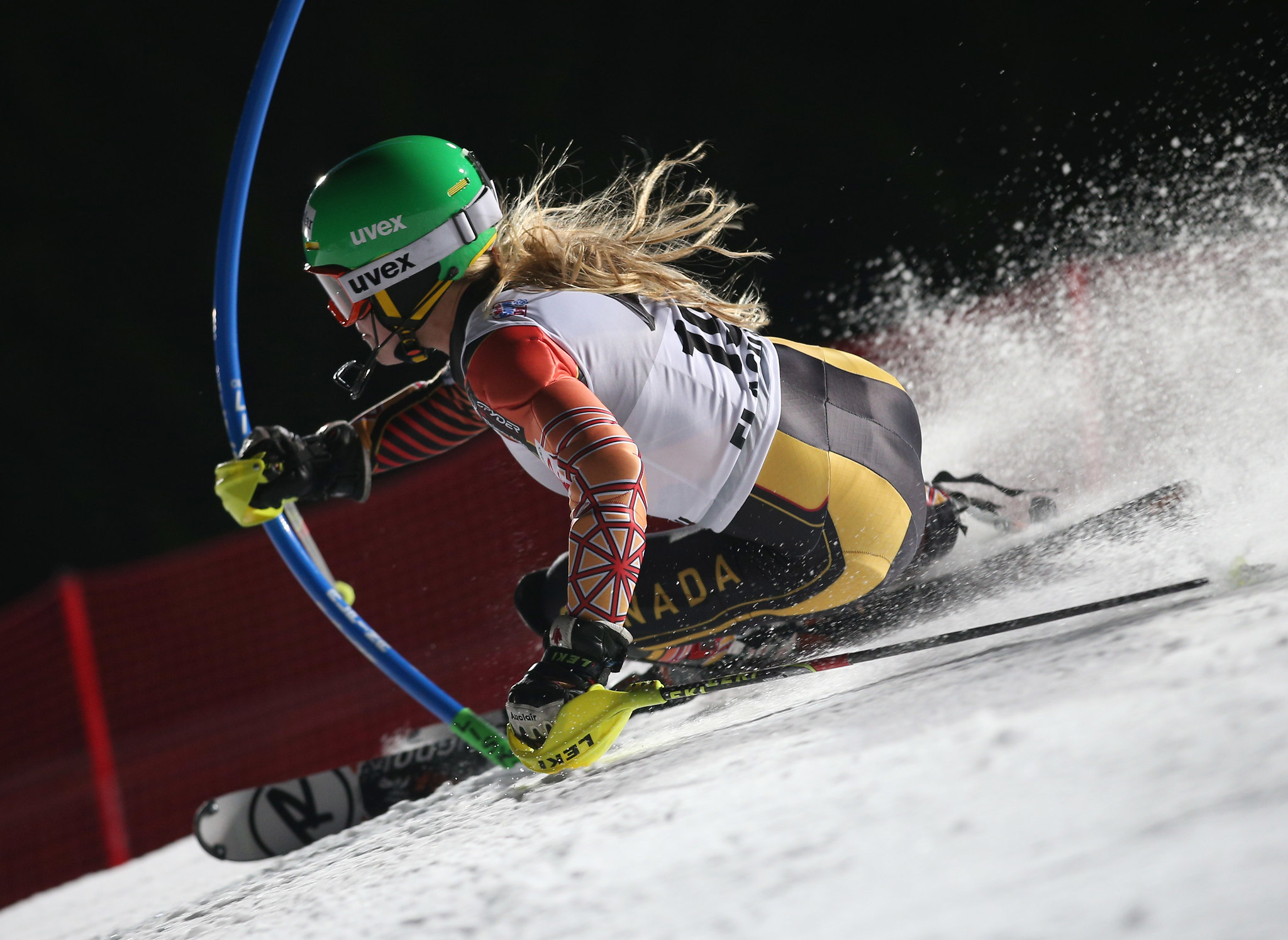Mielzynski races her way to a 21st place finish in the slalom at the FIS Alpine World Cup in Flachau, AUT