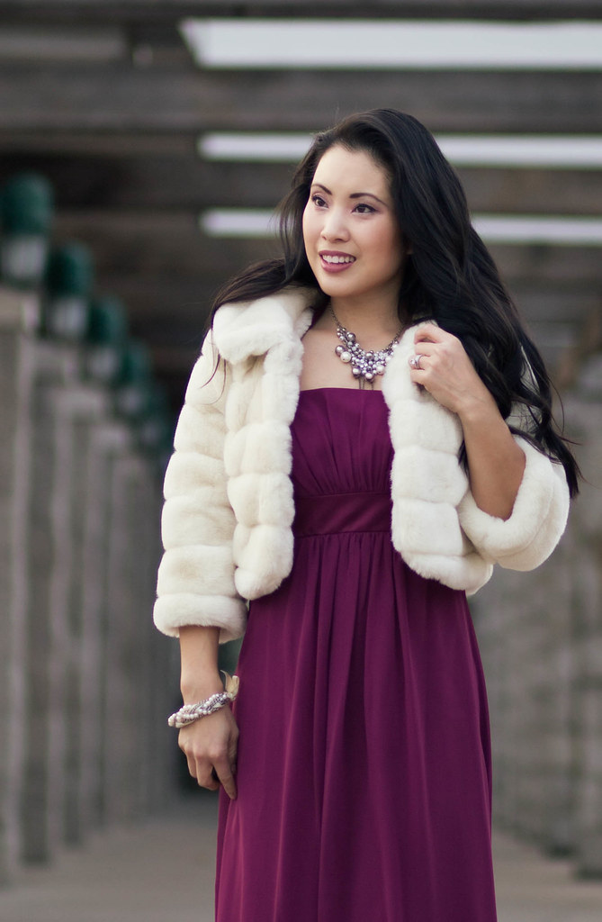 cute & little blog   red carpet glam   long chiffon berry dress, pearl cluster statement necklace, cropped fur coat   dressy outfit