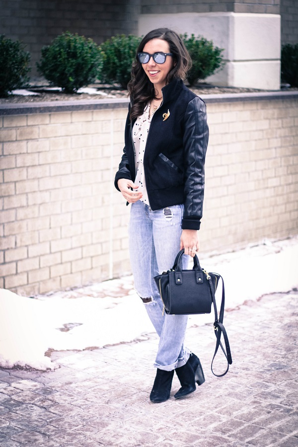 va darling. dc fashion blogger. virginia fashion blogger. faux leather sleeve bomber jacket. destroyed denim. polka dot tights. reflective ray-ban sunglasses. cold casual outfit. 6