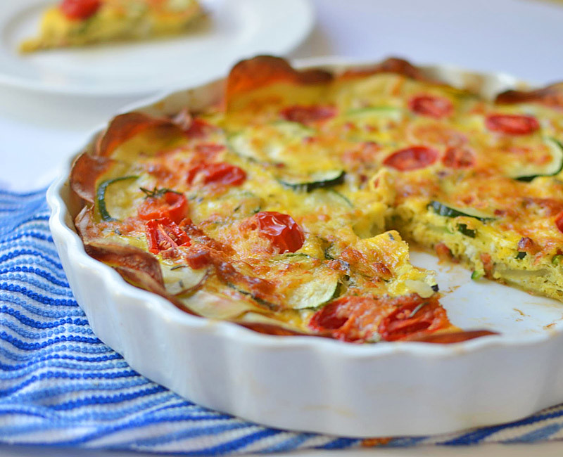 Vegetable and Pancetta Quiche with Potato Crust via LittleFerraroKitchen.com