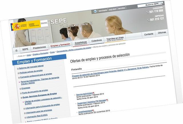 Web SEPE de empleo en Finlandia