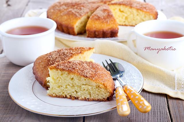 Slice of cinnamon tea cake