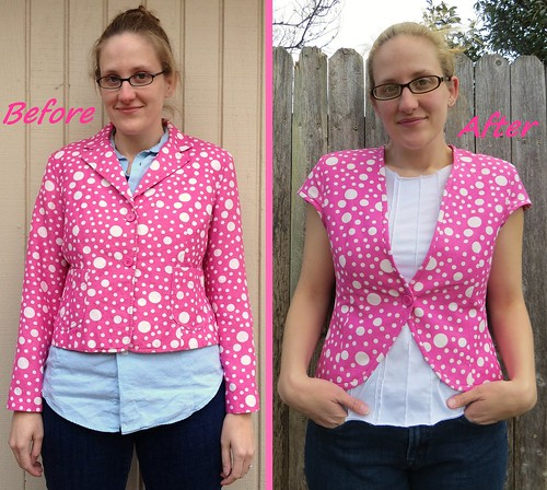 Pink Polda Dot Blazer - Before & After