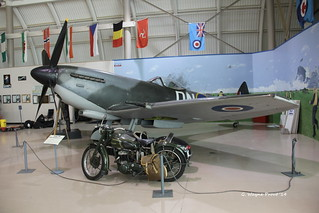 Supermarine Spitfire Mk. XVIe and Triumph TRW Military Motorcycle - Canadian Warplane Heritage Museum - Mount Hope Ontario