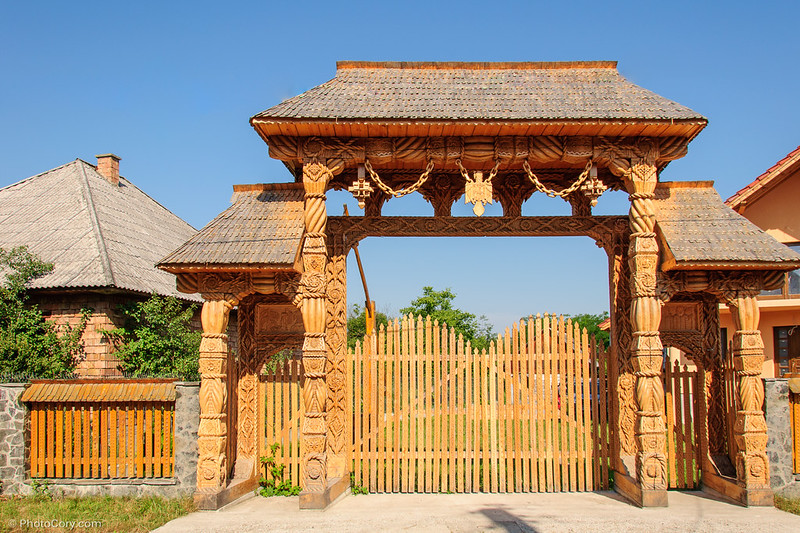 carved wooden gate maramures