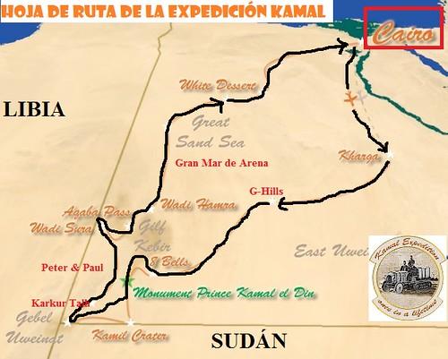 Mapa de la ruta de la Expedición Kamal al Desierto Líbico (Egipto)