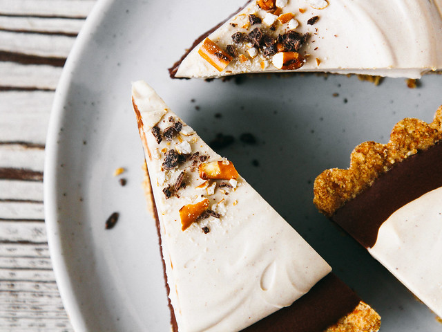 Chocolate mousse pie with peanut butter whip + pretzel crust