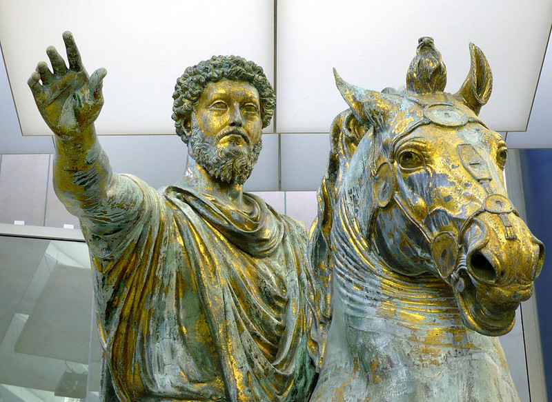 The Statue of Marcus Aurelius in the Musei Capitolini in Rome