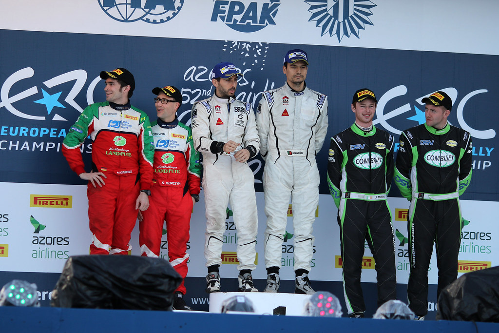 general podium  during the 2017 European Rally Championship ERC Azores rally,  from March 30  to April 1, at Ponta Delgada Portugal - Photo Jorge Cunha / DPPI