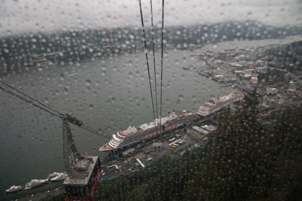 Pictures of cruise ships taken from Mount Roberts Tramway