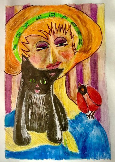 Oiseaux, femmes et un chat. Watercolor pencils.
