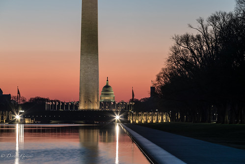 capitol dc washington washingtonmonument landscape nauticaltwilight reflectingpool sunrise districtofcolumbia unitedstates us