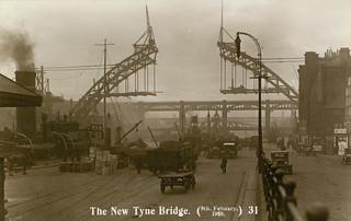 The Tyne Bridge under construction