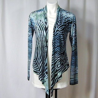 Slate, a bit of Verdigris, and Black Tiger Stripes Arashi Shibori Wrap