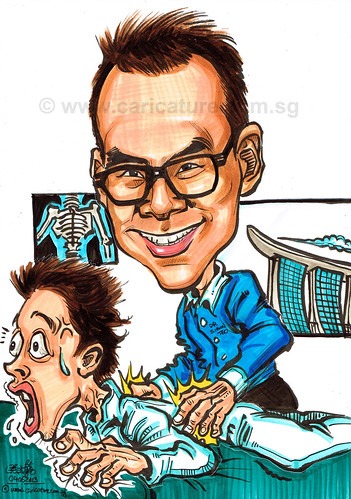 Chiropractor caricature treating a patient in clinic