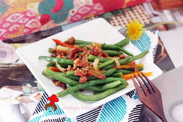 西式培根炒四季豆  Stir green bean with bacon 1