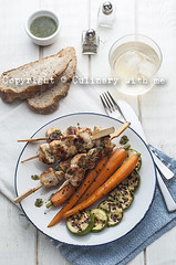Grilled chicken meat with glazed carrots and zucch…
