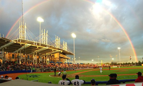 Hillsboro Hops opening game, with rainbow
