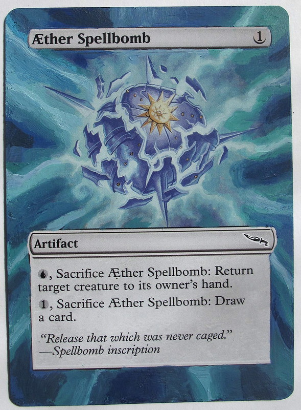 Aether Spellbomb magic the gathering card altered art mtg