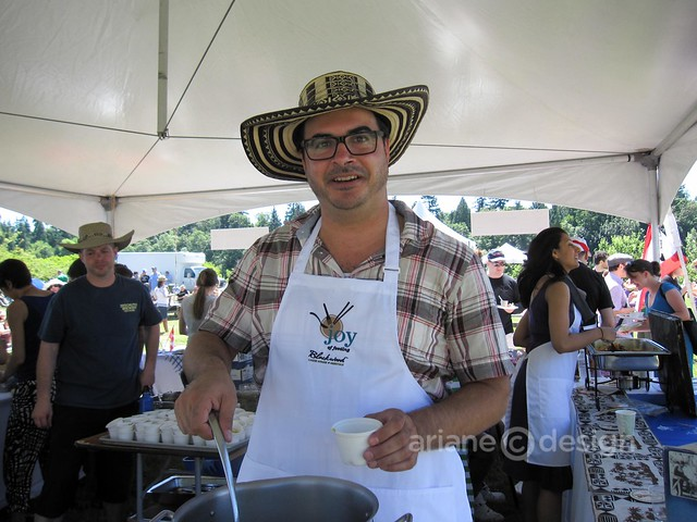 Miguel Maurer serving up Ajiaco (Colombian Chicken and Potato Soup)