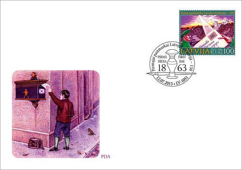 """Pirmās dienas aploksne pastmarkai """"Pirmajai pastmarkai Latvijas teritorijā - 150"""""""