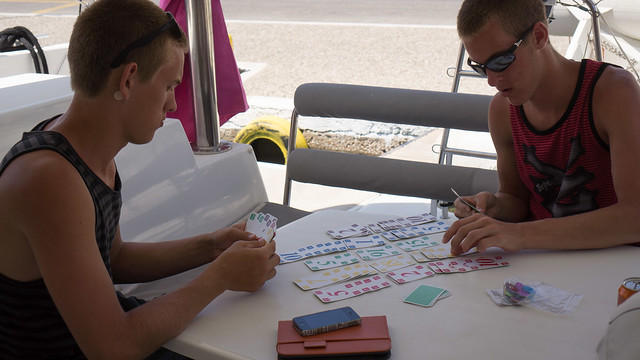 Playing cards on board in Gialos Port on Ios