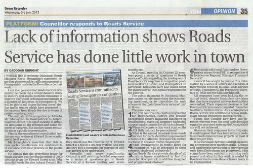 3rd July Down Recorder gives Cllr Enright a platform to call out Roads Service