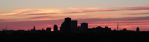 sunset sky colors silhouette skyline rochester