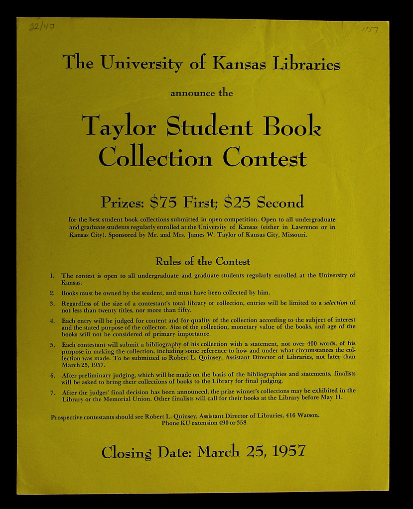 1957 Taylor Student Book Collecting Contest Poster