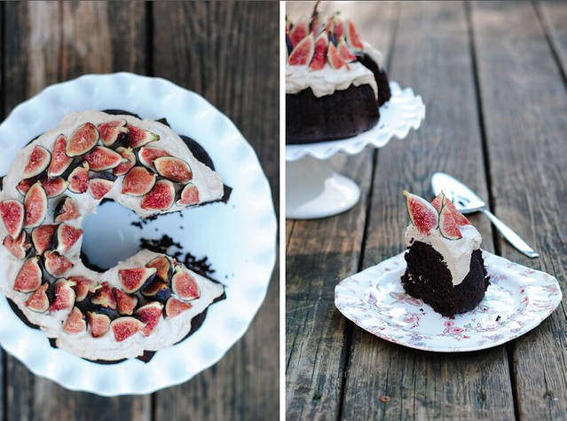 Whole Wheat Chocolate Cake with Cashew Cream and Figs
