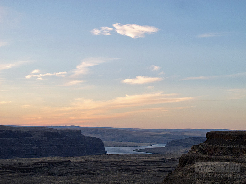 The Columbia River runs through 'The Gorge' in the distance.