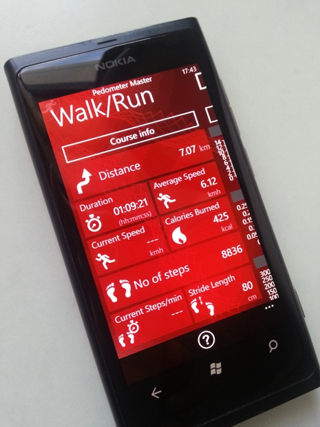 Pedometer Master running on Nokia Lumia device