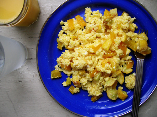 squash and yellow bell scrambled eggs