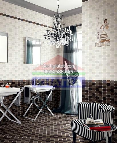 Gạch ốp tường carô trắng đen