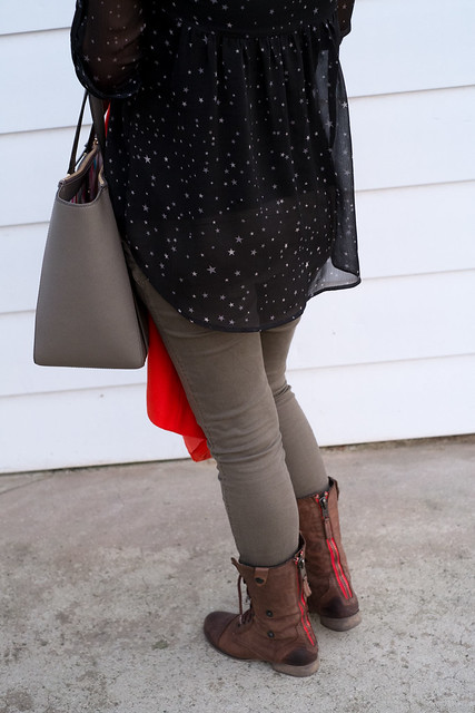 Express star blouse, Old Navy maternity skinny jeans, Kate Spade purse, Steve Madden combat brown boots
