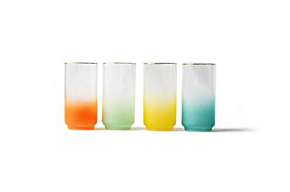 Vintage Clear and Frosted Color Drinking Glasses