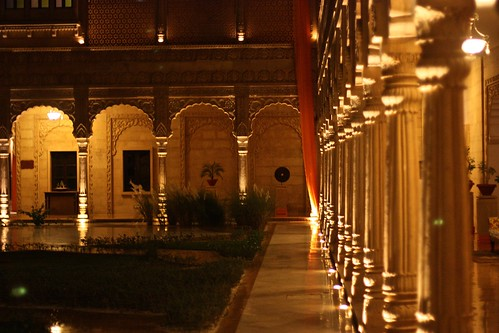 Suryagarh's courtyard lit up at night