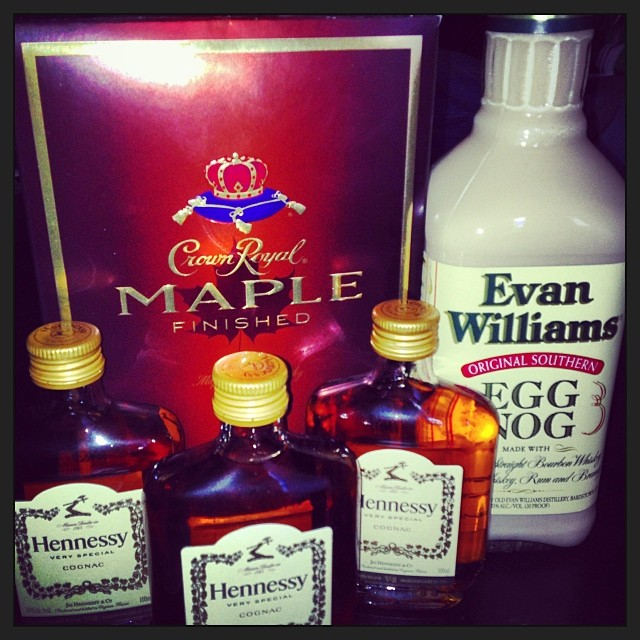 crown royal maple evan williams egg nog and hennessy