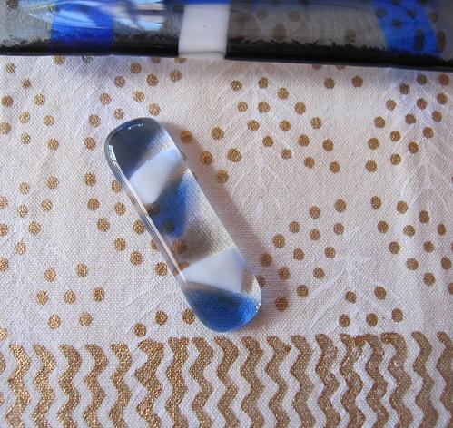 青いモザイクの箸置き 60mmx15mm by Poran111